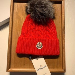NWT authentic Moncler beanie Red
